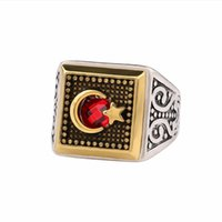 Wholesale Moon Stone Rings - Antique Silver Gold Color Moon Star Muslim Ring With Red Stone for Men Women Retro Band Rings Fashion Arab Religious Jewelry Gift