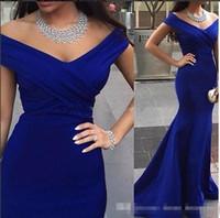 халат королевский синий выпускной оптовых-Дешевый Royal Blue атласные арабские Вечерние платья с плечом Pleats Плюс Размер сшитых Формального Прома Pageant платье Robe De Soiree Дешевый