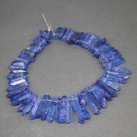 perlas de cristal al por mayor-Colgantes de punto de cuarzo, cristales de azul real natural, gemas curativas en bruto Granos de púas de piedra, Roca de Briolettes perforada superior, Joyería de collar de mujer