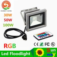 Wholesale Remote Wall Plug - 30W 50W 100W RGB IP65 Led Landscape Lights Outdoor Waterproof Led Floodlights AC 85-265V + Remote Control + US EU AU Cable Plug