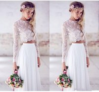 Wholesale Sweetheart Beach Empire Wedding - 2016 Hot Sale Two Pieces Crop Top Bohemian Wedding Dresses Chiffon Ruched Floor Length Spring Lace Long Sleeve Wedding Dress DG