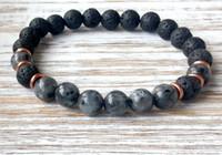Wholesale Mens S Bracelet - SN1040 Mens Yoga Volcanic Lava Bracelet Gray Larvikite Stone Bracelet High Quality Men`s Jewelry Free Shipping