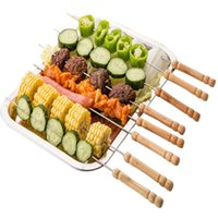 Wholesale High quality Barbecue needle CM Food Camping Picnic vegetable Needle BBQ Barbecue Stainless Steel Grilling Kabob Kebab Flat Skewers