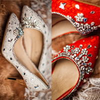 Wholesale Elegant Red Heels - New Arrival Elegant White Red Lace Wedding Shoes with Rhinestone Pearls 2CM 6CM 8CM High Heels Women's Shoe Vintage bridal Shoes