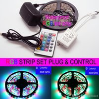 Wholesale 12v 24w - 5M RGB LED Strip Lights Waterproof SMD3528 300LED DC12V LED Rope Lights + 24 KEY IR Remote Control + Adapter Power Plug 24W 2A