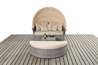 PE Rattan outdoor day beds - Outdoor rattan wicker round bed Outdoor wicker Lying bed Rattan Sun Day Bed with Table Garden Furniture Set Large Daybed with Canopy table
