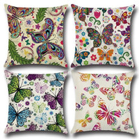 Wholesale Decorative Butterfly Pillows - Garden Butterfly Sofa Waist Cushions Pillow Cover Colorful Printed Backres Pillowcase 45*45cm decorative throw pillow cover Cotton and linen