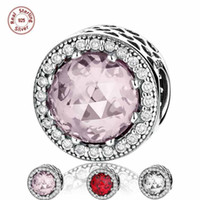 Atacado 3pcs muito Solid 925 Sterling Silver Charms Troll Beads Radiant Hearts com CZ Diamond Red Pink Fit Bangle Pulseira DIY Jóias
