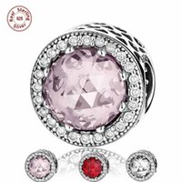 Comercio al por mayor 3pcs / lot Sólido 925 Sterling Silver Charms Troll Beads Radiant Hearts con CZ Diamond Red Pink Fit pulsera del brazalete de la joyería DIY