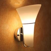 calla lilie licht großhandel-Moderne Glas Calla Lily Schlafzimmer Wandleuchten Matt Weiß Glas Lampenschirm Korridor Nachttischlampen Wandlampen Leuchten Spiegel Vorderwand Wandlampen