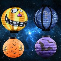 Wholesale Halloween Pumpkin Lantern - Halloween Suppies Paper Pumpkin Ghost Pattern Paper Lantern Halloween Decoration Party Supply Paper Lantern Party Decoration CCA7106 500pcs