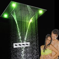 Wholesale China Led Curtain - made in china tub shower faucet set with modern electric power led ceiling rain shower rainfall,waterfall,curtain
