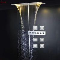 Wholesale Ceiling Shower Waterfall Electric - Electric LED Rain Shower Head Ceiling Waterfall Massage Mistfall Column Showers Bath Set  High Flow Shower Mixer  Body Jets 20160927#