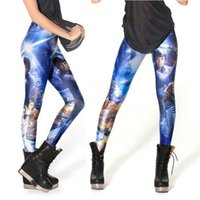 Moda Mujer 3D Man Galaxy Leggings Blue Pantalones de buceo Impreso Sky Space Stretchy Breathe Navidad caliente Jeggings Slim Tights