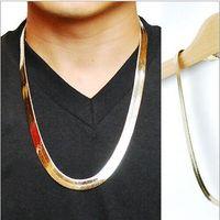 Wholesale Fish Necklace Men - High quality 24K Gold plated W10MM 75CM long Hiphop Franco Fish Bone Snake Chain Fashion Men Necklace