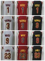 Wholesale Thomas Top - Top quality 2017-2018 New 23 Lebron James Jersey 9 Dwyane Wade 3 Isaiah Thomas 1 Derrick Rose Red White Basketball Jerseys