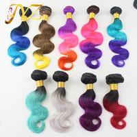3adet bakire remı saç toptan satış-Ombre saç uzantıları brezilyalı ombre 3 adet lot virgin İnsan saç dokuma 1B / kırmızı mavi gri mor renk remy İnsan saç demetleri Ücretsiz Nakliye