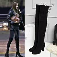 Wholesale Big Size High Heels - 2016 Europe Winter Big Size 41 Genuine Leather Over the Knee lady Long boots Thick High Heels Slip-On Stretch boots