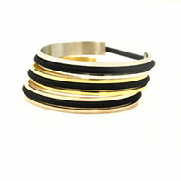 Wholesale Green Wedding Tie Set - 20pcs Free Shipping by DHL High Quality Oblong Groove Brass Hair Tie Bracelet Bangle Gold Silver Rose Gold Cuff Bangle for Wedding Girl Gift