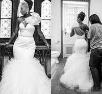 Wholesale Elegant One Shoulder Sash - Plus Size Wedding Dresses Mermaid Flouncing Ruffles Sweep Train One Shoulder Sheer Tulle Flowers Beaded Sash Sexy Elegant Bridal Gowns