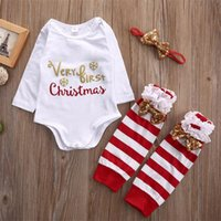 Wholesale 24 Month Christmas Outfit - Very First Christmas Present Kid Clothing Bodysuit Striped Outfit Headband+Romper+Legging 3Pcs Set Long Sleeve Winter Baby Boy Girl 0-12M