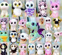 Wholesale Toy Huskies Plush - Hot Plush Toy TY Beanie Boos Big Eyed Huskies Simulation Animal TY Stuffed Animals Super Soft 17cm with Tag Children Gifts