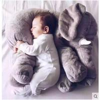 Wholesale Children Animal Pillow - 5 colors Fashion Elephant Pillow Baby Doll Children Sleep Pillow Birthday Gift INS Lumbar Pillow Long Nose Elephant Doll Soft Plush