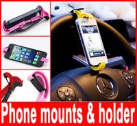 Wholesale Driving Steering Wheel - Steering wheel phone mounts & holder Universal Drive Travel Car Smart Stand Phone Holder For iphone Samsung ipad mini PDA GPS Hot