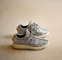 Wholesale New Top Baby Shoes - 2016 New Kids kanye west style Running Shoes Snakers Kanye West boost black grey Baby Fashion sport Shoes Size:26-36 top quality