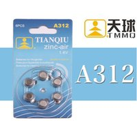 Wholesale Zinc Air Battery - 6 Pieces   Set Button Cell Batteries Button Coin Battery Zinc-Air 1.4 V A312 Use in HEARING Instruments Hearing Aid Batteries