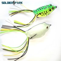 Wholesale wholesale bass fishing soft baits - 2pcs lot Fish Lure Ray Frog Lure 14g Bass Fishing Topwater Artificial Bait Lure Wobbler Swimbait Soft Bait with Double Hook order<$18no trac