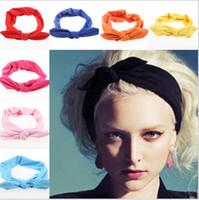 корейский кролик оголовье оптовых-Wholesale- 2015 korean boutique   ears top knotted twist headbands for women adult infant girls baby head wraps hair band turban