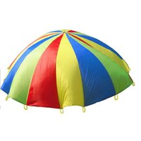 Wholesale Cloth Umbrella Red - Wholesale-2M 78inch Child Kid Sports Development Outdoor Rainbow Umbrella Parachute Toy Jump-sack Ballute Play Parachute hot
