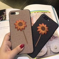 Fleur Broderie Cell Phone Case Beautiful Fashion Mobile Back Cover pour Iphone 8 8plus 7 6s en gros