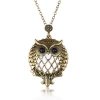 Wholesale Owl Pendant Necklace Glass - New design Fashion unisex necklaces Retro Hollow Owl Pendant Necklaces Trendy Glass Magnifier necklaces free shipping