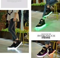 Wholesale White Cotton Lace Sheet - 8colors shoe USB charing LED luminous shoes women man glowing high help sheet metal light shoes black white couple shoes gifts
