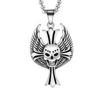 Wholesale Titanium Cross Wings Necklace - Wholesale 10Pcs lot 2017 Halloween Jewelry Demon Wings Skull Necklace Devil Rock Club Men Vintage Cross Skull Titanium Steel Silver Necklace