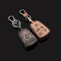 Wholesale Smart Car Key case cover Cadillac SRX XTS SLS CTS ATS Keychain Genuine Leather Car Key Fob Chain Interior Accessories