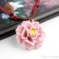 Wholesale Porcelain Flower Pendant - Ceramics Manual Original Nation peony Porcelain Woman All-match Flower hip hop cross Jade jewelry