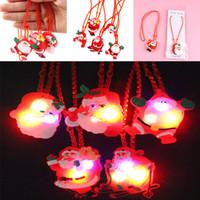 Wholesale lighted xmas necklaces - LED Christmas Light Up Flashing Necklace Children Kids Glow up Cartoon Santa Claus Pendant Party Xmas Dress Decorations WX9-156