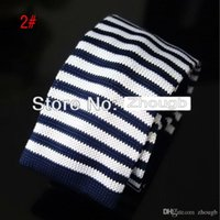 Wholesale Plain Navy Tie - Knitted Ties Neck Tie Men's Necktie Solid Navy White color Stripe Cashmere wool high quality