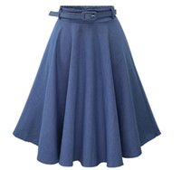 Wholesale Prom Dresses 24 - A-line skirt dress jean adult party skirts for women midi prom club wedding guest tutu dresses