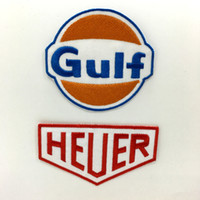 Wholesale car embroidered patches resale online - GULF AND HEUER Gulf Oil Embroidered Iron On Gasoline Car Patch Stickers Appliques Apparel Accessories Badge Patches