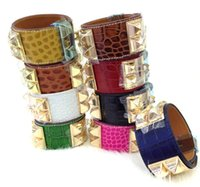 Wholesale Wide Silver Bangles - Cheap wholesale H crocodile pattern leather four nail rivets leather bracelet exaggerated punk wind wide bracelet