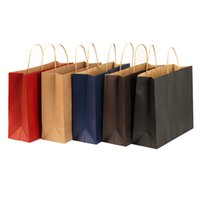 Wholesale Kraft Stocks - 2016 stock and customized colorful paper gift bag brown kraft paper bag with handles wholesale ELB152