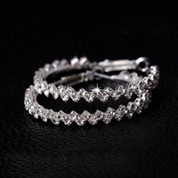 Wholesale Large Silver Crystal Hoop Earrings - Fashion Womens Jewelry Charms Crystal Wave Hoop Earrings 50mm 40mm Large Circle Rhinestone Ear Studs