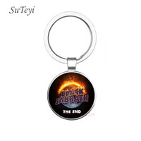 Wholesale Crystal Ring Pictures - Charm Black Sabbath Keychain Glass Cabochon Key Ring Art Picture Crystal Pendant Key Chain Jewelry Handmade Car Key Holder For Men
