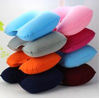 Wholesale Flocked inflatable air pillow for BodySleeping Nursing Camping Airplane Massage Neck Use inflatable neck pillow U shape pvc pillow