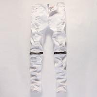 ingrosso ginocchio grande foro dei jeans-All'ingrosso-2016 nuovi jeans casual da uomo bianco grande buco nel ginocchio pantaloni jeans con cerniera jeans moda e confortevole