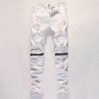 jeans grande furo joelho venda por atacado-Atacado-2016 novos homens brancos de jeans casuais grande buraco no joelho calças zíper jeans moda jeans e confortável